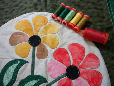 My applique block, started in a class with Mariya Waters
