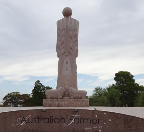 This sandstone sculpture in Wudinna commemorates  the contributions of Australian Farmer